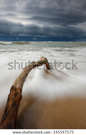 The upcoming storm on Baltic Sea / North Poland beach - stock photo