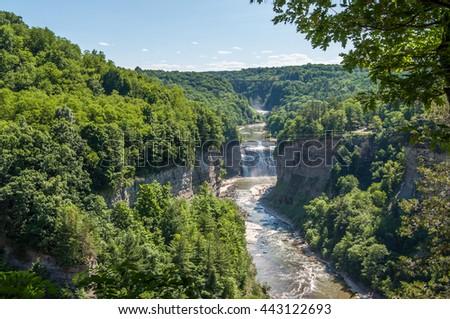 The Upper and Lower Falls of the Genesse River as seen from Inspiration Point in Letchworth State Park, New York. - stock photo