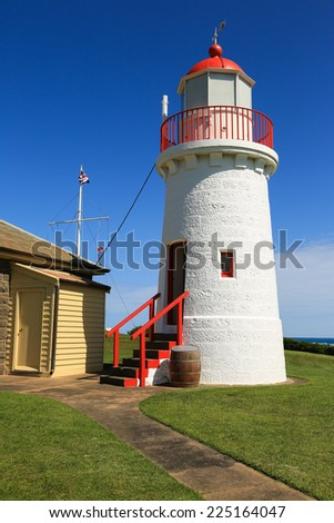 The upper Lady Bay lighthouse (c1872) in Warrnambool, Victoria, Australia.  - stock photo