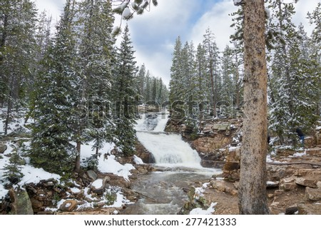 The upper level of the Provo River Waterfall. Uinta-Wasatch-Cache National Forest, Utah - stock photo