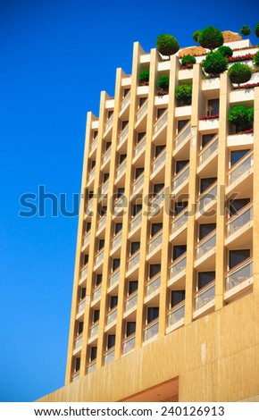 the upper part of the high-fashion hotel in Eilat - stock photo