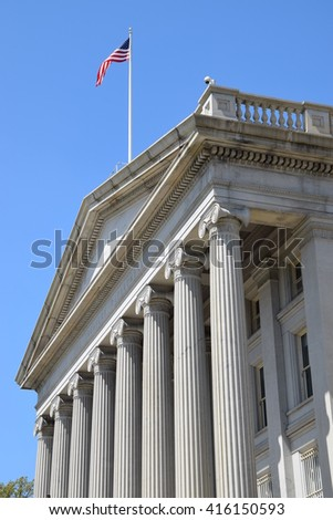 The US Treasury Department Building in Washington, DC - stock photo