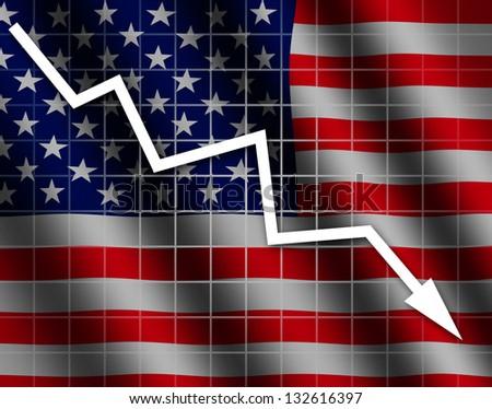The USA flag and arrow graph going down - stock photo