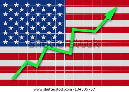 The USA flag and arrow graph going up - stock photo
