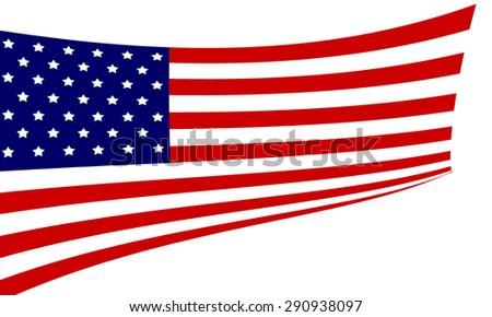The USA flag isolated on white background. - stock photo