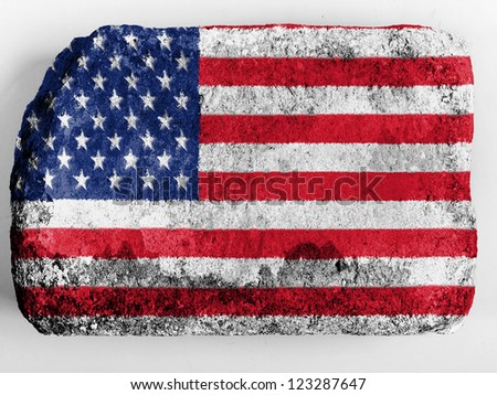 The USA flag  painted on brick - stock photo
