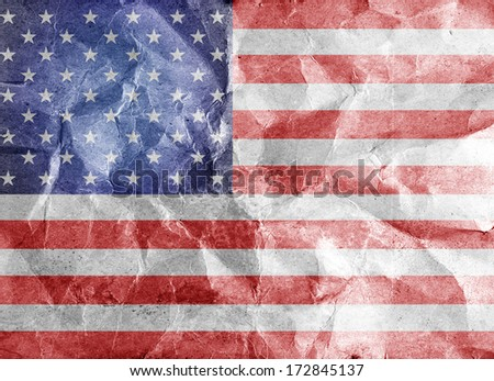 The USA flag painted on crumpled paper  - stock photo