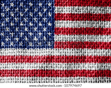 The USA flag painted on fabric surface - stock photo