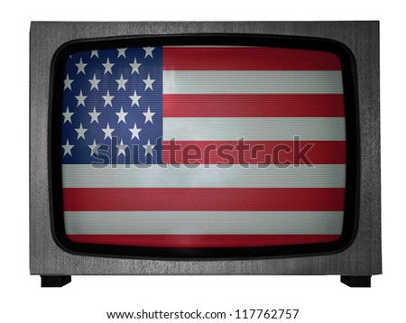 The USA flag painted on old TV - stock photo
