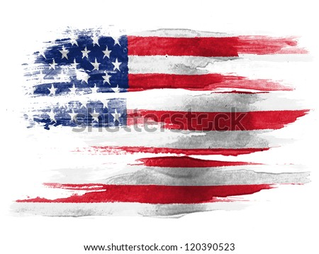 The USA flag painted on white paper with watercolor - stock photo