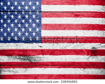The USA flag painted on wooden surface - stock photo