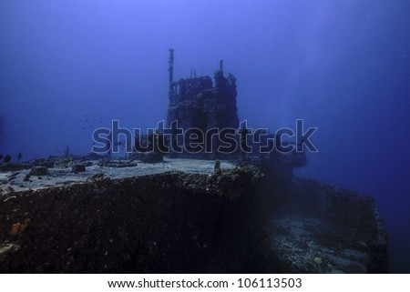 The USCG Duane in Key Largo, Florida. A sunken shipwreck in the John Pennekamp State park. A ship sunk intentionally as an artificial reef. - stock photo