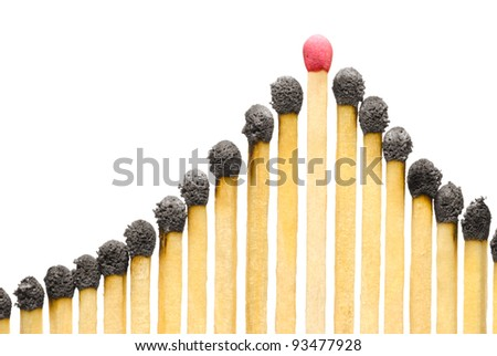 The used matches on a white isolated background (one match the whole). - stock photo