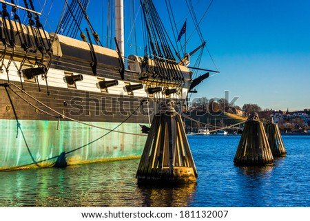 The USS Constellation in the Inner Harbor of Baltimore, Maryland. - stock photo
