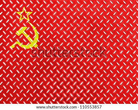 The USSR flag painted on  metal floor - stock photo