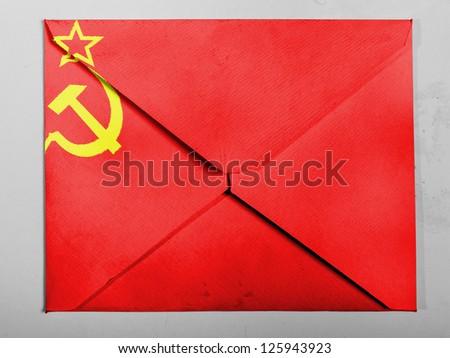 The USSR flag painted on  painted on grey envelope - stock photo