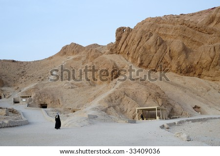 The Valley of the Queens is located on the West Bank at Luxor (ancient Thebes). There are between 75 and 80 tombs in the Valley of the Queens - stock photo