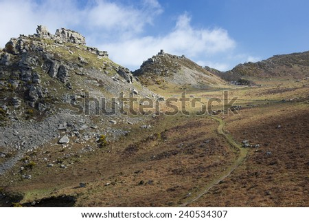 The Valley of the Rocks, with Castle Rock and Rugged Jack, Lynton, north Devon, England, UK. - stock photo