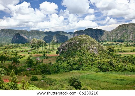 The valley of Vinales in Cuba. This is an UNESCO World Heritage site - stock photo