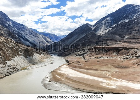 The valley of Zanskar and Indus rivers confluence,Ladakh,Jammu-Kashmir,India. - stock photo
