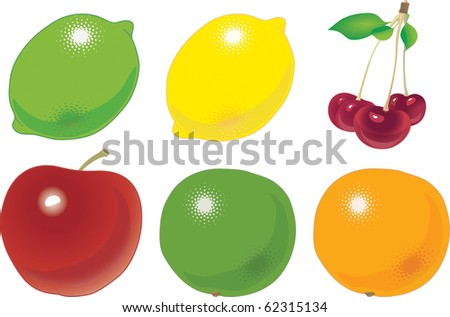 the various fruit accurately located on numbers. a vector illustration - stock photo