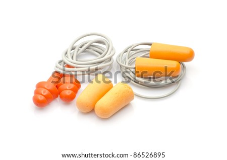 The various type of ear plugs isolated on white background. - stock photo