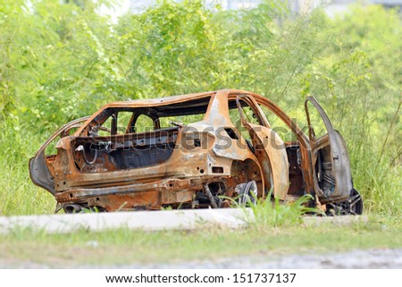 the vary old car with many rust - stock photo