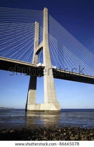 The Vasco da Gama bridge in Lisbon, Portugal - stock photo