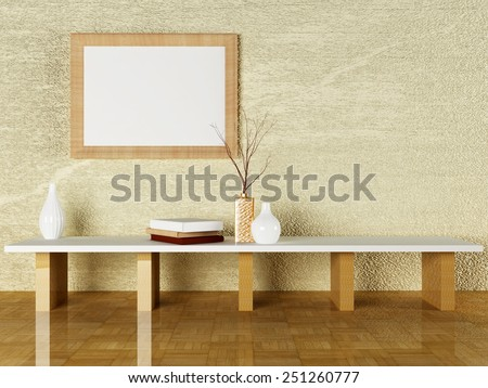 the vases and the books on the table, 3d rendering - stock photo