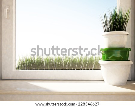 the vases with the grass on the windowsill, 3D rendering - stock photo