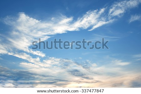 The vast blue sky and clouds sky,sun - stock photo