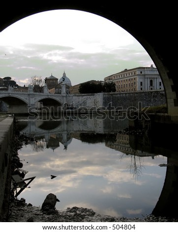 the Vatican and saint peters church view from the Tiberius river - stock photo