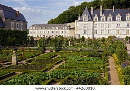 The vegetable garden of Chateau de Valencay - stock photo