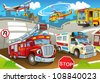 The vehicles in city, urban chaos v 2 - illustration for the children - stock photo