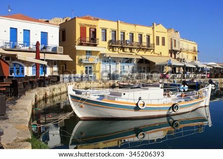 The Venetian Harbour at Rethymno, Crete, Greece. - stock photo