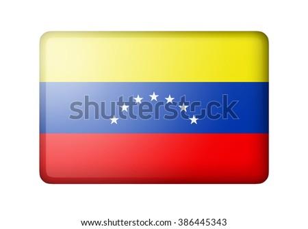 The Venezuelan flag. Rectangular matte icon. Isolated on white background. - stock photo