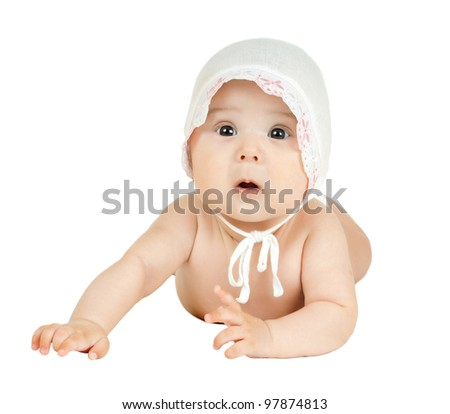 the very  beautiful  little kid , look in wide-eyed astonishment,  on white background, isolated - stock photo