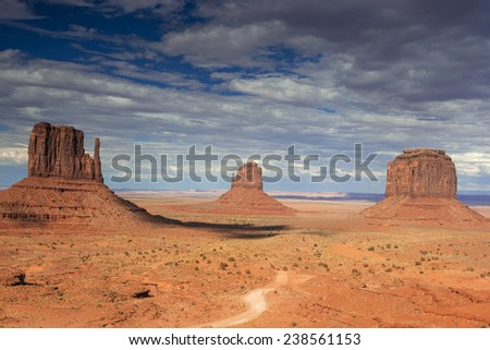 The Very Famous and Unique Buttes of Monument Valley in Utah state, USA. Horizontal Image Composition - stock photo