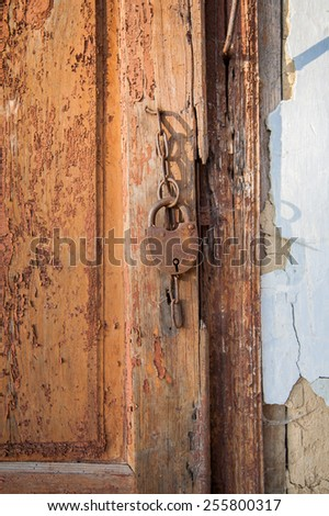 The very old door closed for everyone - stock photo