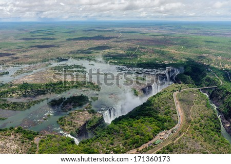 The Victoria Falls from air in Zimbabwe. - stock photo