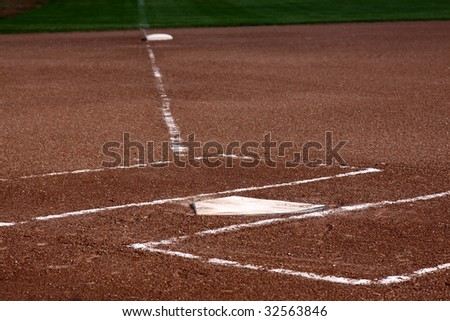 The view down the left field line with home plate and the batters boxes in focus. - stock photo