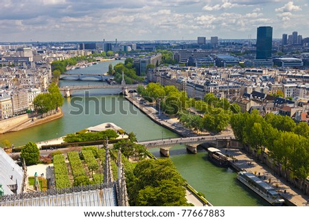 The view from Notre Dame in Paris skyline. - stock photo