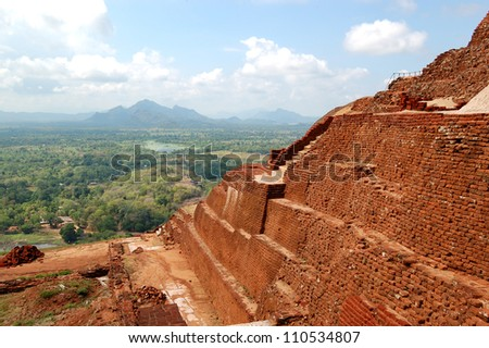 The view from Sigiriya (Lion's rock) is an ancient rock fortress and palace ruins, Sri Lanka - stock photo