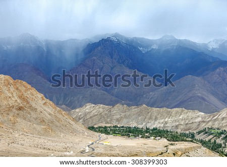 The view from the balcony of the Likir Gompa (monastery) - Tibet, Leh district, Ladakh, Himalayas, Jammu and Kashmir, Northern India - stock photo