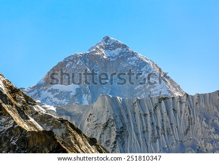The view from the Chhukhung Ri on the fifth in the world in the height of mount Makalu (8481 m) - Everest region, Nepal, Himalayas - stock photo