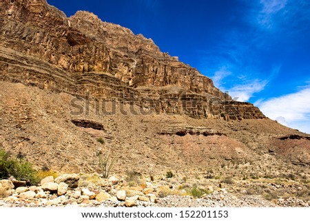 The view from the floor of the grand canyon - stock photo