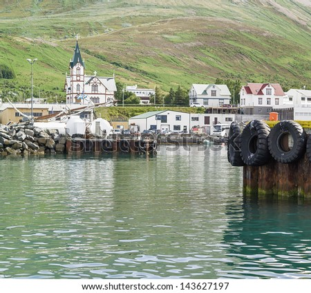 The view from the port city ����µ��¹��º��?�����²��¸��º the old Church - Iceland - stock photo