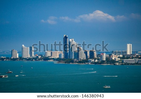 The view from the sea of the building and skyscrapers in Pattaya Beach. - stock photo