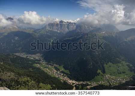 The view from the summit of Colac. The Dolomites in the Alps. - stock photo