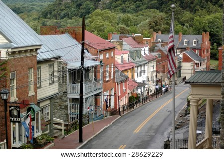 The view from up high of Harper's Ferry, West Virginia's main drag. - stock photo